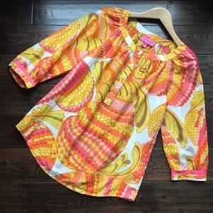 Trina Turk silk resort tunic with grosgrain ribbon